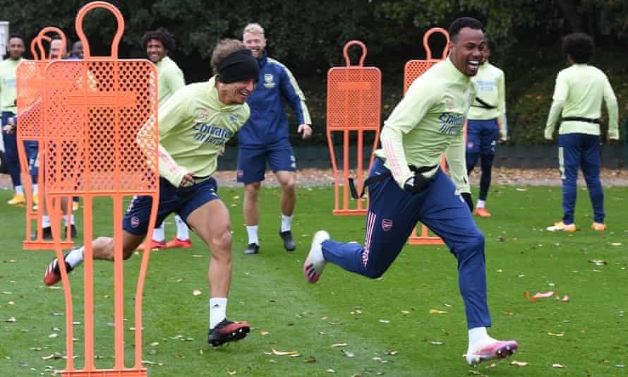 David Luiz and Gabriel during Arsenal training on Sunday.