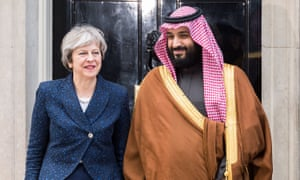 Mohammad bin Salman with Theresa May in March 2018.