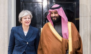 Crown Prince Mohammed bin Salman visiting Theresa May in March this year.