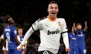 Rodrigo, celebrating here after scoring for Valencia against Chelsea last September, is Leeds's record signing.