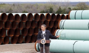 Barack Obama speaks at the TransCanada pipe yard