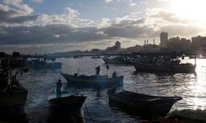 Sunrise at the port of Gaza