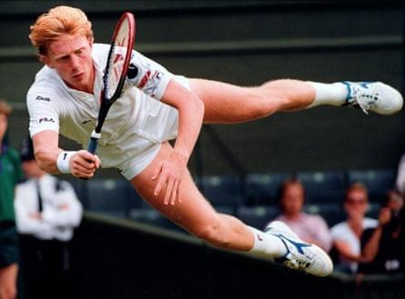 Boris Becker at Wimbledon in 1990.