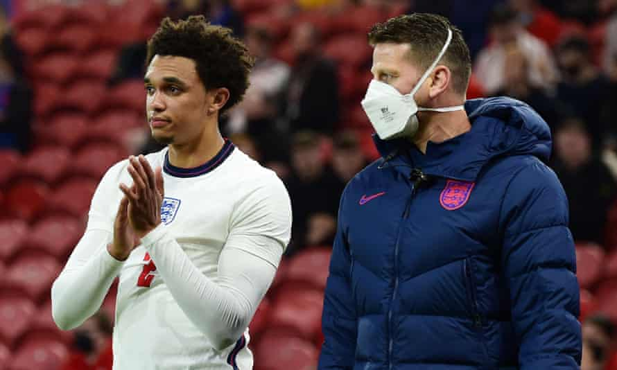 Trent Alexander-Arnold applauds the fans as he walks off after sustaining an injury in England's win over Austria.