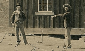 A detail from a 4×5-inch photo depicting Billy the Kid, left, playing croquet in 1878.