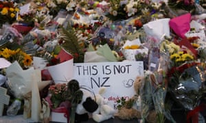 A memorial near the Masjid Al Noor mosque for victims of the shooting in Christchurch on 15 March