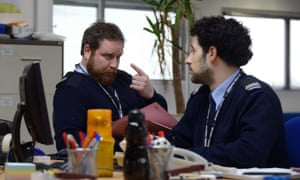 'The new Office, with the new politics': Jamie Michie (left) as Grant Brodie and David Avery as Tariq Mansour in Channel 5's Borderline.