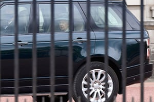 London, UK. The Queen leaves Buckingham Palace for a scaled-back state opening of parliament at the Palace of Westminster