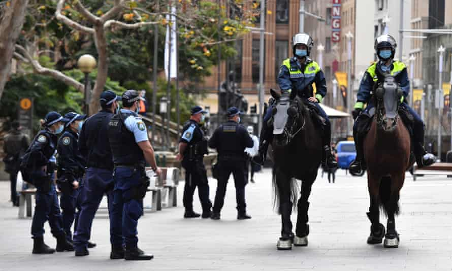 NSW police patrol George Street in Sydney's central business district
