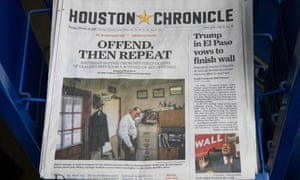 The front page of the Houston Chronicle, featuring a story on accusations of abuse in Southern Baptist churches, is seen at a gas station in the city.
