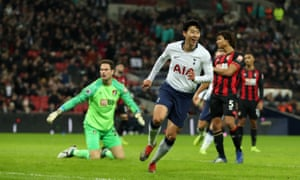 Son Heung-min runs off in celebration after scoring Tottenham's fifth and his second against Bournemouth.
