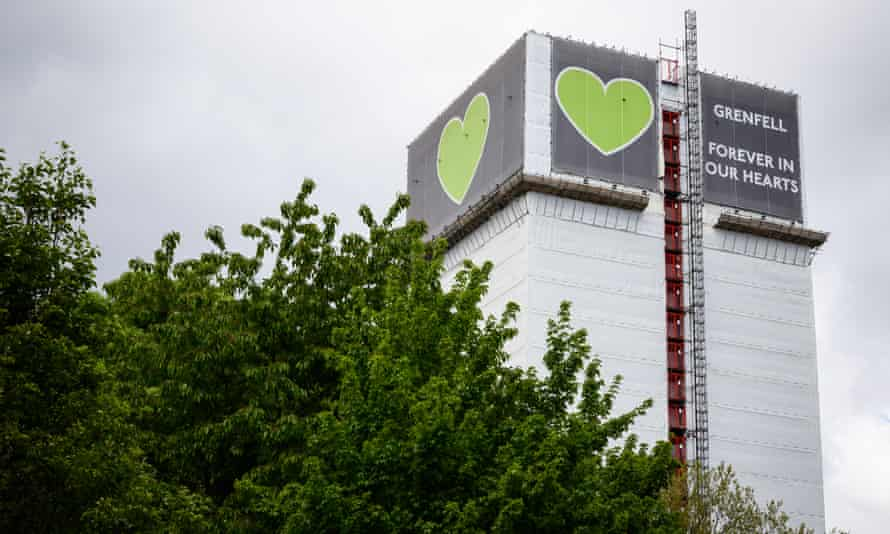 The covered structure of Grenfell Tower