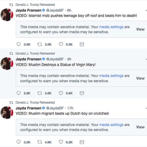 Donald Trump retweeted posts by Jayda Fransen, the deputy leader of the British far-right fringe group Britain First.
