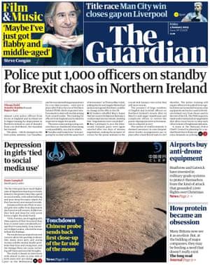 Guardian front page, Friday 4 January 2018
