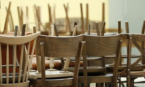 Empty cafe with chairs piled up