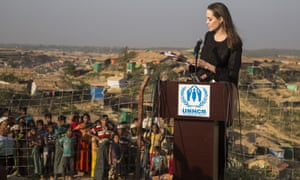Angelina Jolie speaks at Cox's Bazar in southern Bangladesh before visiting a nearby Rohingya refugee camp.