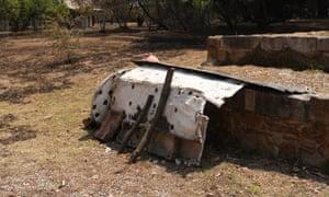 The makeshift shelter where Steve Harrison took refuge from the flames