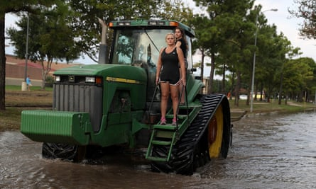 A scene in Houston, Texas, after Hurricane Harvey hit the region and caused major flooding in the city.