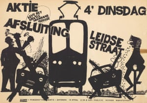 A poster calls for Leidsestraat to be closed to cars and for free public transport