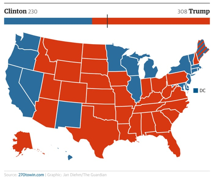 US Presidential Election Five Scenarios That Could Play Out This - The guardian us political map