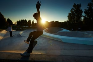 Wheels on fire ... skaters get to grips with their new park.