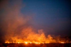 An out-of-control fire burns after spreading on to a farm along a highway in Nova Santa Helena municipality in the Brazilian state of Mato Grosso.