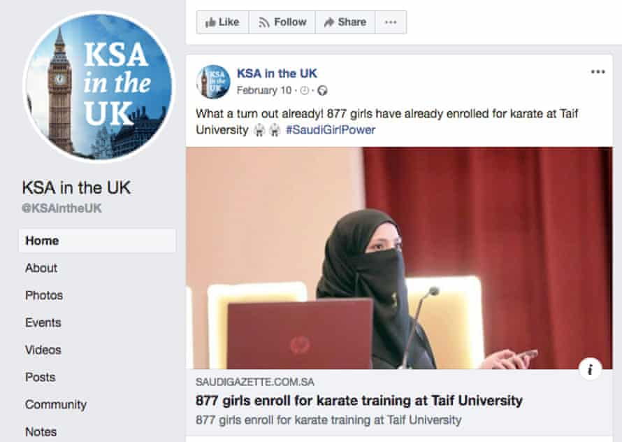 KSA in the UK, a Facebook page promoting Saudi Arabia to Britons.