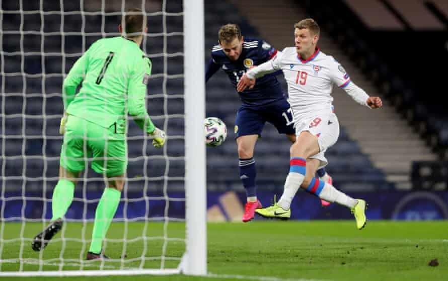 Ryan Fraser scores Scotland's fourth goal against the Faroe Islands. He has been a success story for Steve Clarke.