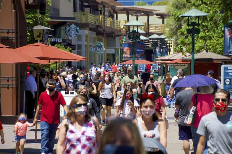 Guests at the Disneyland Resort visit Downtown Disney in Anaheim, California.