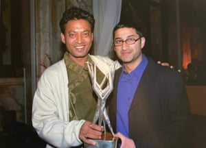 Irrfan Khan and Asif Kapadia celebrate winning the London film festival's Sutherland award for best feature in 2001.