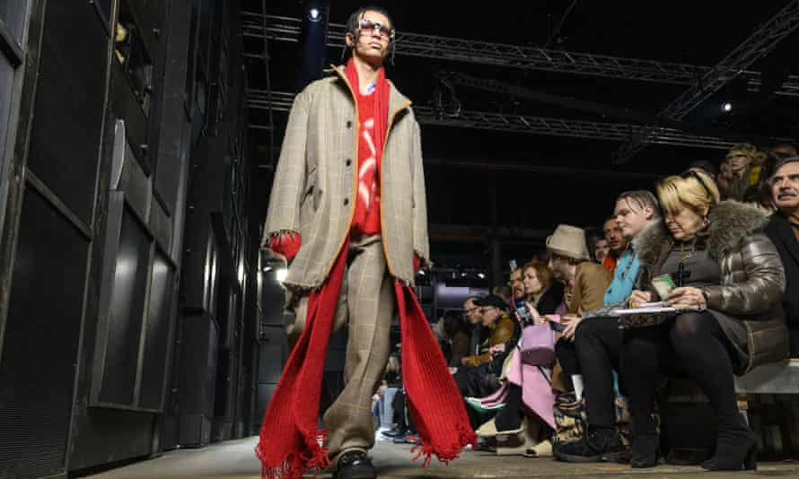 A model walks the runway at the Marni show.