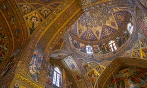 Interior of dome of Vank (Armenian) Cathedral, Isfahan, Iran.