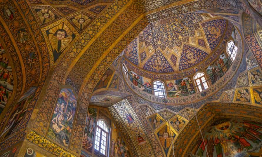 Interior of dome of Vank (Armenian) Cathedral, Isfahan, Iran.