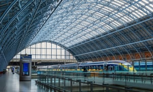 Eurostar trains in St. Pancras railway station, London, England.