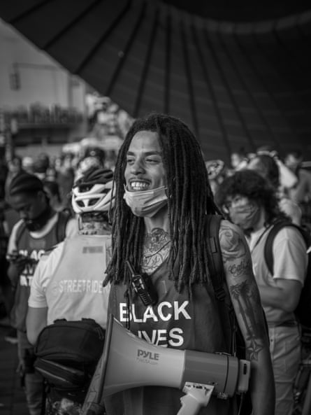 Orlando Hamilton, 28, before the start of a protest from Barclay Center in Brooklyn, New York on June 27