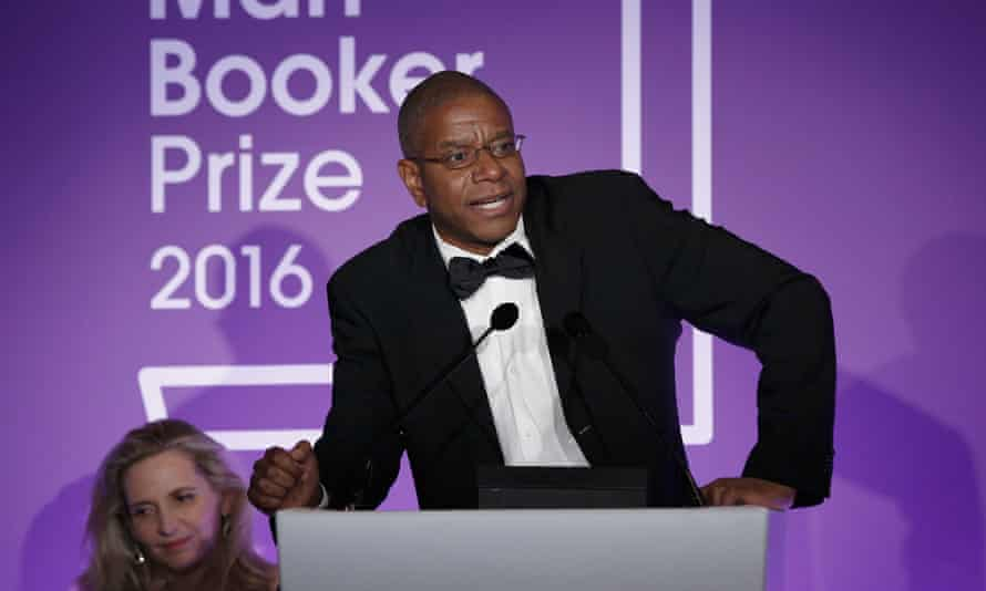 Small firm, big win … Oneworld author Paul Beatty, accepting the 2016 Man Booker Prize for The Sellout