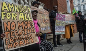 An anti-deportation protest outside the Jamaican high commission in London this month