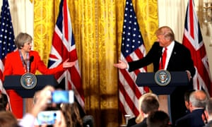 Theresa May during her visit to the US to meet President Donald Trump. The letter warns the PM over his disregard for law and discriminatory policies.