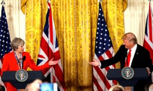 British PM Theresa May and US President Donald Trump at a joint news conference in Washington DC.