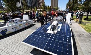 Solar cars in Adelaide on the final day of the 2017 World Solar challenge on Sunday.