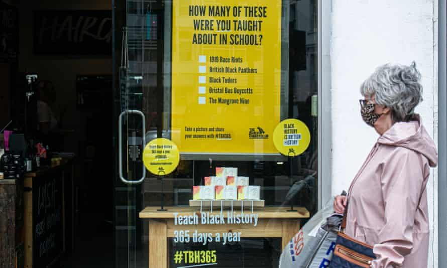 A Lush shop window supporting the Black Curriculum's #TBH365 campaign, highlighting the lack of Black history taught in schools.