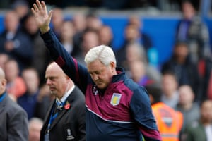 "Steve Bruce waves goodbye after the final whistle. ""I've been in the game for 40 years and nearly 10 of them were here,"" said Bruce. ""I had some happy very happy times here"""