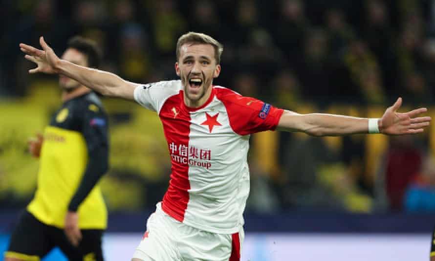 Tomas Soucek celebrates after scoring for Slavia Prague against Borussia Dortmund in December.