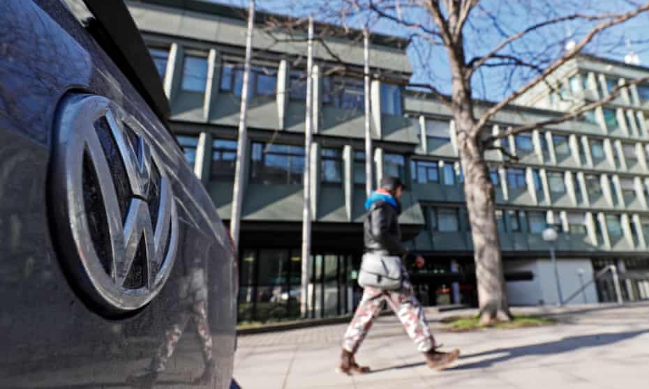 A VW (Volkswagen) logo on a car seen in front of the higher regional court in Stuttgart, Germany.