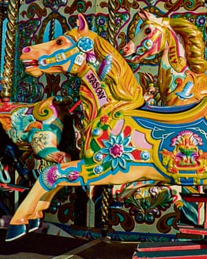 Stock photo of the animal carousel at the Brighton Palace Pier.