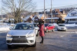 An 'Ash and Dash' drive-through event at Faith Lutheran Church in White Oak, Pittsburgh, US