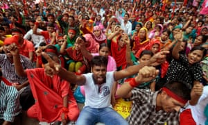 A protest in Dhaka in 2013 demanding a minimum wage and compensation for the victims and those injured in the collapse of the Rana Plaza building.