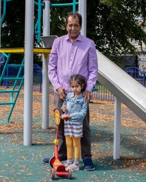 Gagda Sashikant and his granddaughter Jiana Ladhani at Sevenoaks Park