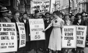 Women protesting for pension rights in 1938.