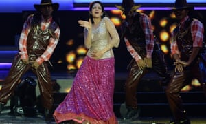 Sridevi performing at the 14th International Indian Film Academy (IIFA) awards in 2013.